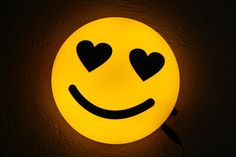 Hand Made Emoji Emoticon Yellow Round Table Lamp Wall Lamp