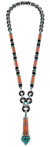 Art Deco Egyptian-Revival coral, black onyx, turquoise and diamond sautoir by Cartier, Paris, 1922.
