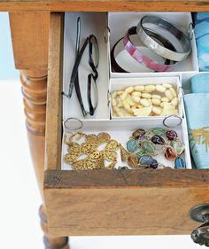 Drawer Inserts, DIY-Prefer to make your own inserts?  Clip together sturdy little cardboard jewelry boxes to create neat storage for pens and pencils, lipsticks, plastic flatware—whatever is cluttering your drawer. Slice off the tops and the bottoms of cereal boxes and fill them with loose odds and ends. Or try shoe boxes: Cut them in half, along the length or width, and fill the resulting compartments with folded briefs, socks, or stacked bras.