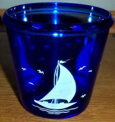 Hazel Atlas Ships Cobalt Blue Depression Glass ice bucket