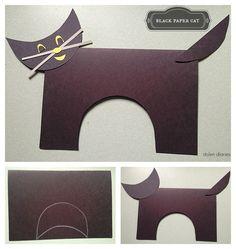 How To Make A Black Paper Cat - a fun paper, scissors and glue kids craft