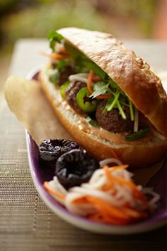 Vietnamese Turkey Meatball California Dried Plum Banh Mi Sandwich