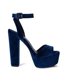 SANTE platform high heeled sandal and the velvet is on! Platform High Heels, Dress Up, Velvet, Pairs, Sandals, Elegant, Celebrities, Blue, Stuff To Buy