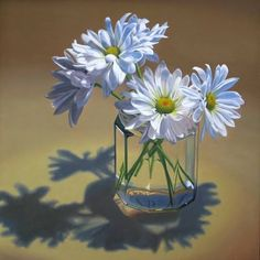 """White daisies in glass jar"" By Nance Danforth, from Port Richey, Florida, US - oil on canvas, 30 x 30 in -"