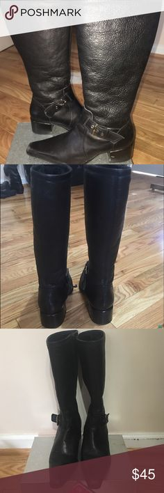 Audrey Brooke pebbled leather boots Black soft pebbled leather Audrey Brooke side zip riding boots. Squared toe buckle detail. Inside fully lined with soft wool. Size 6-1/2 M 11/2 in stacked block heel Boot measures 131/2 in from sole to top. Audrey Brooke Shoes Winter & Rain Boots