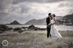 wedding couple on the beach at houghton bay. Wedding photographer, Wellington, New Zealand. http://www.paulmichaels.co.nz