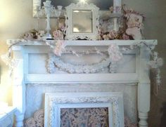 Wonderful Kids Room Christmas Decorations On Budget : Shabby Chic White Themed Christmas Fireplace Decoration on Budget with White Candelabr...