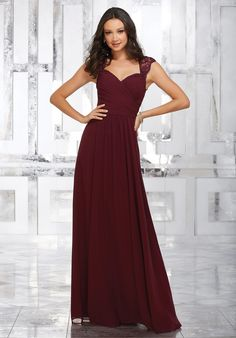 Sophisticated Chiffon Bridesmaids Dress Featuring a Flattering Wrap Style Bodice and Sweetheart Neckline. Beautifully Embroidered and Beaded Straps and a Keyhole Back Complete the Look. View Chiffon Swatch Card for Color Options. Shown in Bordeaux.