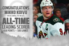 Congrats to Mikko Koivu, who just became the all-time leading scorer for #mnwild w/438 pts. He had 3 assists tonight.