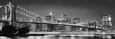 The Brooklyn Bridge shines bright in this city skyline wall mural. The black and white mural is done in a panoramic style for a stunning modern look. Printed On Strippable Non Woven Paste Not Included Comes With 2 Panels Measures x when assembled Interior Wallpaper, New Wallpaper, Wallpaper Murals, Brooklyn Bridge, City Lights At Night, New York Photography, Most Beautiful Wallpaper, Great Backgrounds, Paintings