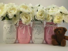 Baby Shower Centerpiece Mason Jar Centerpiece door lilpumpkincrafts, $20.00