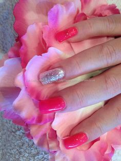 Acrylic nails with gel polish. This site has other cute ideas to do with your nails!