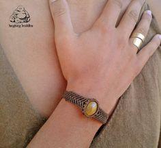 Healing macrame bracelet Tigers eye  bracelet by byLaughingBuddha
