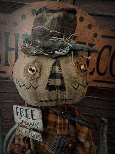 MUSTARD SEED ORIGINALS Fall Scarecrow Crow Primitive Very