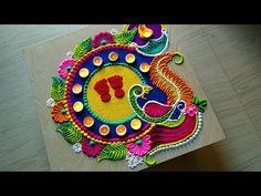 peacock rangoli design for Diwali Dussehra Easy Rangoli Designs Videos, Easy Rangoli Designs Diwali, Simple Rangoli Designs Images, Rangoli Designs Flower, Rangoli Border Designs, Small Rangoli Design, Rangoli Patterns, Colorful Rangoli Designs, Rangoli Ideas