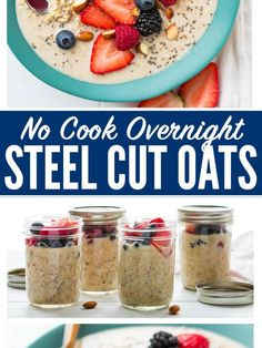 How to make the best Overnight Steel Cut Oats An easy healthy no cook breakfast Made with almond milk peanut butter and chia seeds this delicious recipe is endlessly customizable vegan friendly and can be stored in a mason jar in the refrigerator all week Breakfast And Brunch, Mason Jar Breakfast, Breakfast On The Go, Breakfast Recipes, Breakfast Ideas, Paleo Breakfast, Overnight Oats Almond Milk, Overnight Oats In A Jar, Overnight Steel Cut Oats