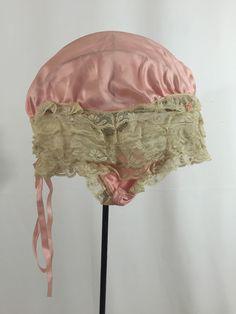 Vintage 1920s Silk Flapper Boudoir Cap Hat Pink Lace Antique  $34  https://www.etsy.com/listing/397941077/vintage-1920s-silk-flapper-boudoir-cap?ref=shop_home_active_3