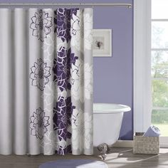 Madison Park Bridgette Floral pattern Cotton 7 piece Comforter Set by  Madison Park  Bathroom Shower CurtainsFabric  Waverly Cheri Purple Shower Curtain   The o jays  Products and  . Grey And Purple Shower Curtain. Home Design Ideas