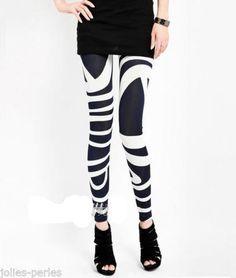JP Fashion Women Casual Leggings Bodycon Quick Dry Zebra Stripe Pencil Trousers