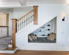 Small space staircase view in gallery under stairs ideas hallway decorating storage for small spaces staircase . Small Space Staircase, Staircase Storage, New Staircase, Stair Storage, Staircase Design, Stair Design, Under Staircase Ideas, Staircase Decoration, Under Basement Stairs