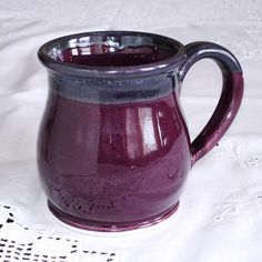 Dark Lavender Coffee mug Pottery Round belly coffee cup by Marietta Theodorou-LeMieux | BlueRoomPottery... plus (+)
