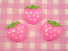 6 x Pink Strawberry Fruit Flat Back Cabochons Decoden Kawaii Kitsch