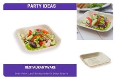 Restaurantware Eco-Friendly Indo Palm Leaf Deep Square Plate: Perfect for Parties and Catering Events - Natural Color – Disposable Biodegradable Party Plates – Square Plates, Party Plates, New Years Party, For Your Party, Biodegradable Products, Catering, Bowls, Eco Friendly, Palm