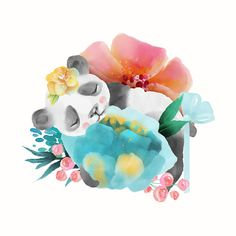 Cute Watercolor Baby Animal Panda Bear With Floral Wreath Tied Bow And Flowers Bouquet Isolted On White Illustration Stock Vector Art & More Images of Africa - iStock Panda Painting, Panda Family, Wreath Watercolor, Watercolour, Panda Love, Free Vector Art, Baby Animals, Dinosaur Stuffed Animal, Floral Wreath