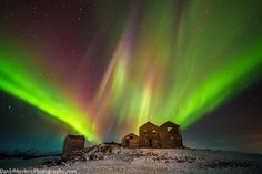 """""""Ghosts of the Past"""" Ruins of an Icelandic farm barn with northern last last Tuesday morning. Native Americans say that the lights are ancestors dancing in the sky."""