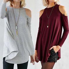 e5dbe0fed6 ZANZEA Women Cold Off Shoulder Long Sleeve Loose Tunic Casual Top T Shirt  Blouse
