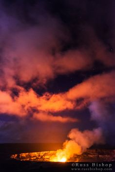 Lava steam vent glowing at night in the Halemaumau Crater, Hawaii Volcanoes National Park, Hawaii USA / © Russ Bishop ~ Click image to purchase a print or license