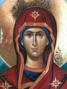 Byzantine Icons, Byzantine Art, Religious Icons, Religious Art, Christian Mysticism, Orthodox Christianity, Hail Mary, Orthodox Icons, Virgin Mary