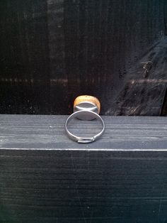Small, handmade, wood letter ring