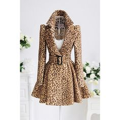 Sexy Leopard Print Fit and Flared Coat ($157) ❤ liked on Polyvore