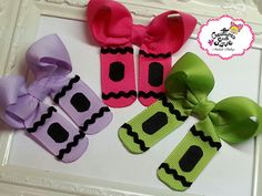 Crayons Hair Bows.Pig Tails Hair Bows. Back to by creationslove