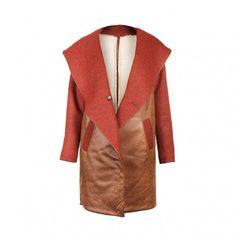 Miedziany płaszcz ze sk�łry ekologicznej