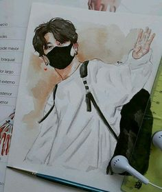Kpop Drawings, Art Drawings Sketches Simple, Jungkook Fanart, Kpop Fanart, Bts Art, Jobs In Art, Arte Sketchbook, Korean Art, Painting & Drawing