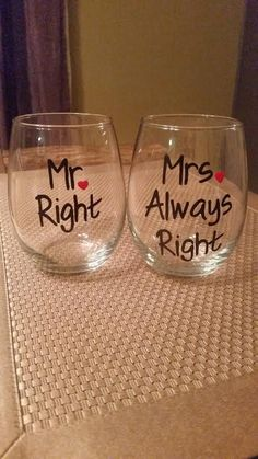 Mr. Right Mrs. Always Right hand-painted by CrystalsGlassDesigns