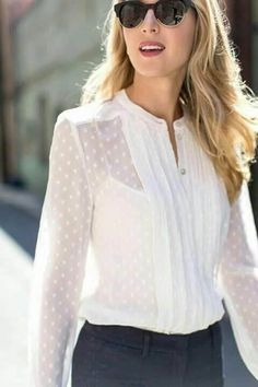 White polka dots are perfect for your summer workwear. Those hot days in the office don't have to be hard anymore! #sheertop #summeroutfit