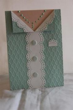 handmade card ... Cricut cutting file for the dress card base ... Martha Stewart edge punch for lace parts ... buttons, paper and embossing folder texture from Stampin' Up! by Kathy D66: by Buy Lizzie