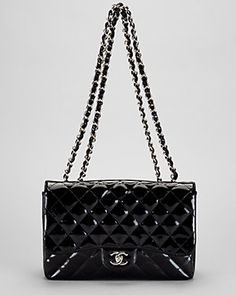 Chanel Black Quilted Patent Leather Jumbo Flap Bag