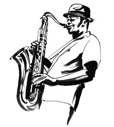 Jazz sax player black & white ink illustration by Eri Griffin http://www.erigriffin.com/
