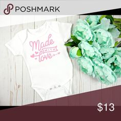 Made With Love Onesie Perfect onesie for a coming home outfit or everyday wear.  Made with quality heat transfer vinyl if you have any questions please don't hesitate to ask.   Reasonable offers considered   **Current turn around time is 3 business days before shipping ** 1. Wash garment inside out 2.Wash in cold water  3. Do not use bleach/fabric softener 4. Do not iron directly on the transferred area   Don't forget to check out our Instagram! @minimagnoliaboutique  Thank you for visiting…