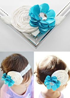 shabby chic ivory and turquoise headband