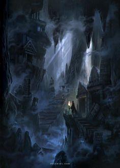 Cave & Cavern Environments For Digital Art Inspiration Dark Fantasy Art, Fantasy Artwork, Fantasy Art Landscapes, Fantasy Concept Art, Fantasy City, Fantasy Places, Fantasy Map, High Fantasy, Fantasy Landscape
