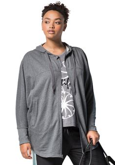"Not your average hoodie. This plus size poncho hoodie is made from our ultra-soft French terry fabric, meaning it not only feels good, but it wicks moisture too. It's the perfect hoodie for those outdoor strolls or workouts when the weather is just slightly uncooperative.  relaxed fit aids movement 32"" length falls comfortably to the mid thigh drawstring hood convenient side welt pockets flat seams soft, washable cotton/polyester French terry is soft and moisture-wicking imported  Women's…"