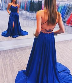 Gorgeous Straps Red Long Prom Dress with Slit elegant royal blue long prom dress with side slit, 2019 simple prom dress, prom dress with side slit de bal longues Royal Blue Prom Dresses, Cute Prom Dresses, Event Dresses, Long Dresses, Dress Prom, Dress Long, Maxi Dresses, Royal Blue Long Dress, Denim Dresses