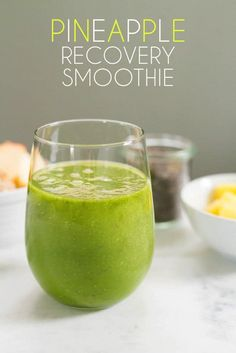 This pineapple recovery smoothie has frozen pineapple, apple, kale, lemon, ginger, and chia seeds — an amazing mix that combines to restore your muscles after a strenuous workout!