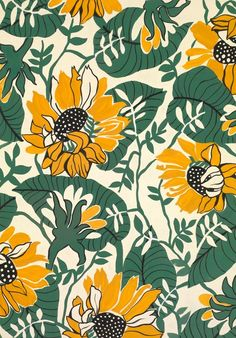 SUNFLOWERS An exclusive reproduction of a Parisian textile design from Atelier Zina de Plagny, 1940s-1950s.: