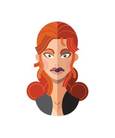 flat minimal superheroes Black Widow